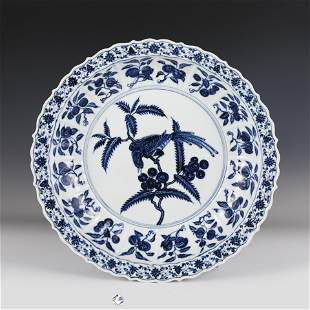 Large Plate with Blue and White Flower and Fruit