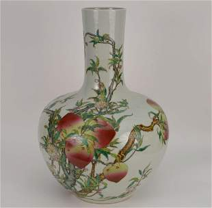 Chinese large famille rose porcelain vase during the