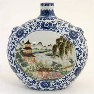 Blue and white famille rose flat bottle with landscape
