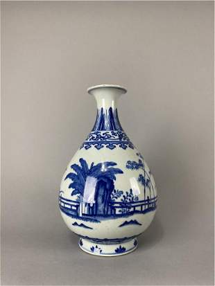 Qing Dynasty style blue and white Yuhuchun bottle