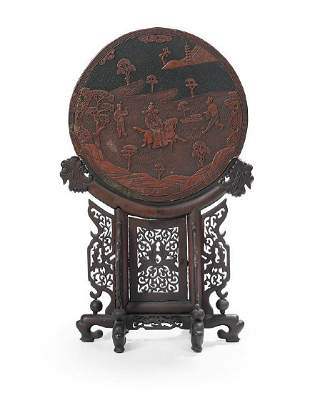 Large Chinese Ming Xuande Laquerware screen decoration