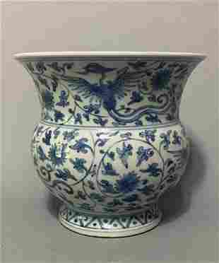 Ming Dynasty style blue and white double phoenix flower