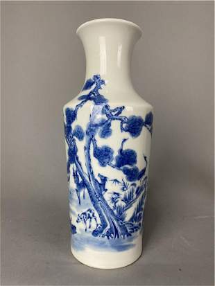 Qing Dynasty style blue and white crane and deer with