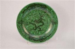 Qing Dynasty emerald green ground dragon plate