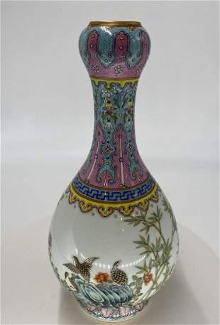 Chinese Qing Qianlong pink glazed garlic head bird and