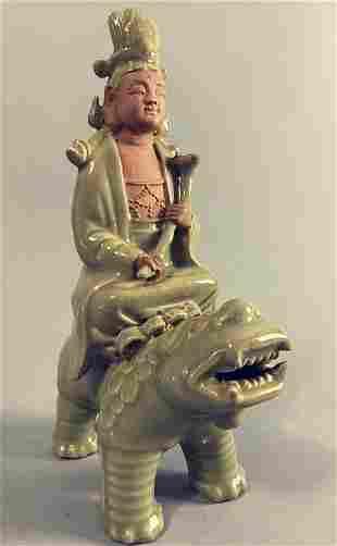 Yuan Dynasty style Longquan Kiln figure, Bodhisattva