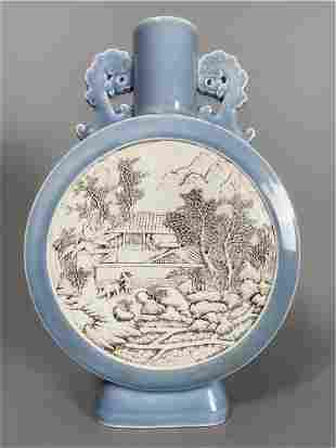Wang Bingrong carved porcelain, sky blue glazed