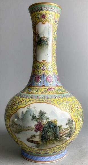 Chinese Qing Guangxu Mark yellow glazed porcelain vase
