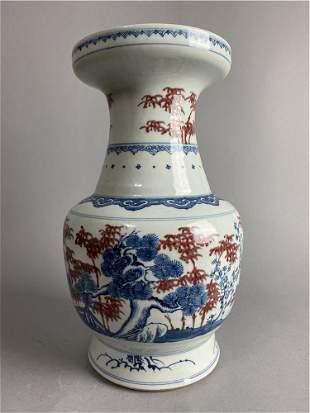 Chinese blue and red white glazed porcelain vase