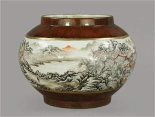 Qing Qianlong Mark landscape and figure painting