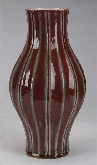 Early Qing Dynasty style red glazed melon ribbed