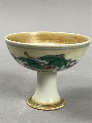 Chinese Ming Chenghua Mark high feet cup