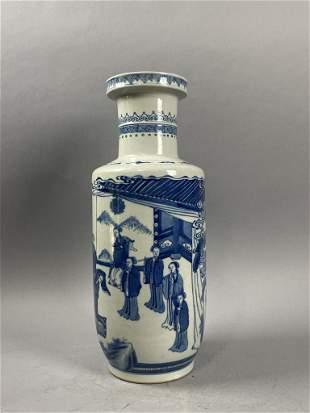 Qing Kangxi blue and white lady vase