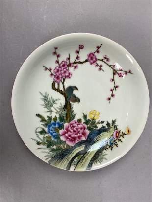 Yongzheng pink glaze flower and bird plate