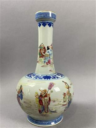 Qianlong blue and white pastel bottle with Eight