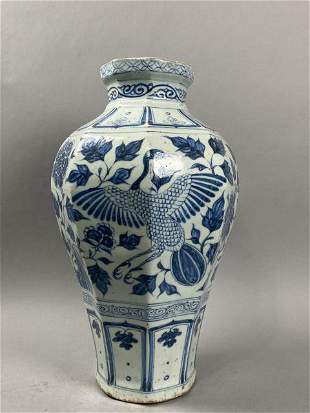 Blue and white flower vase with phoenix pattern in Yuan