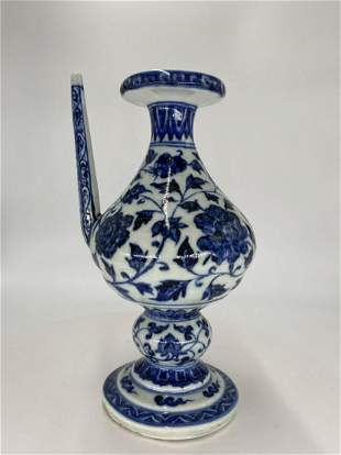 Chinese Ming Dynasty style blue and white wine teapot