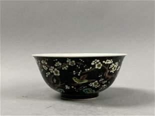 Kangxi black plum flower and bird bowl