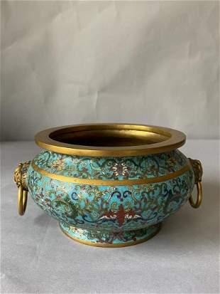 Copper enamel incense burner of Qianlong period, Qing