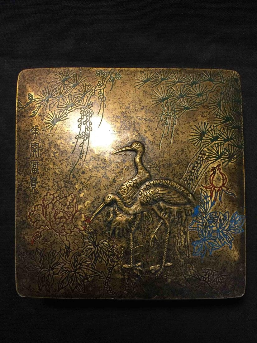 Fine Chinese old copper box engraved with cranes