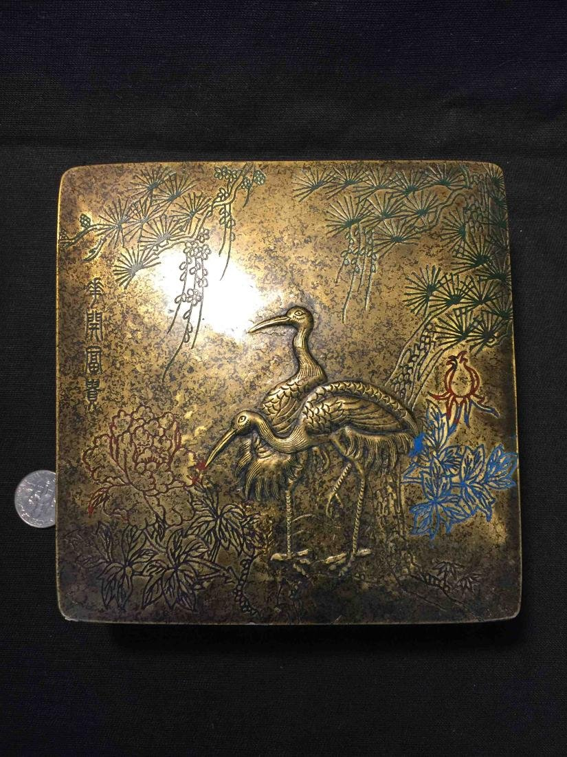 Fine Chinese old copper box engraved with cranes - 3