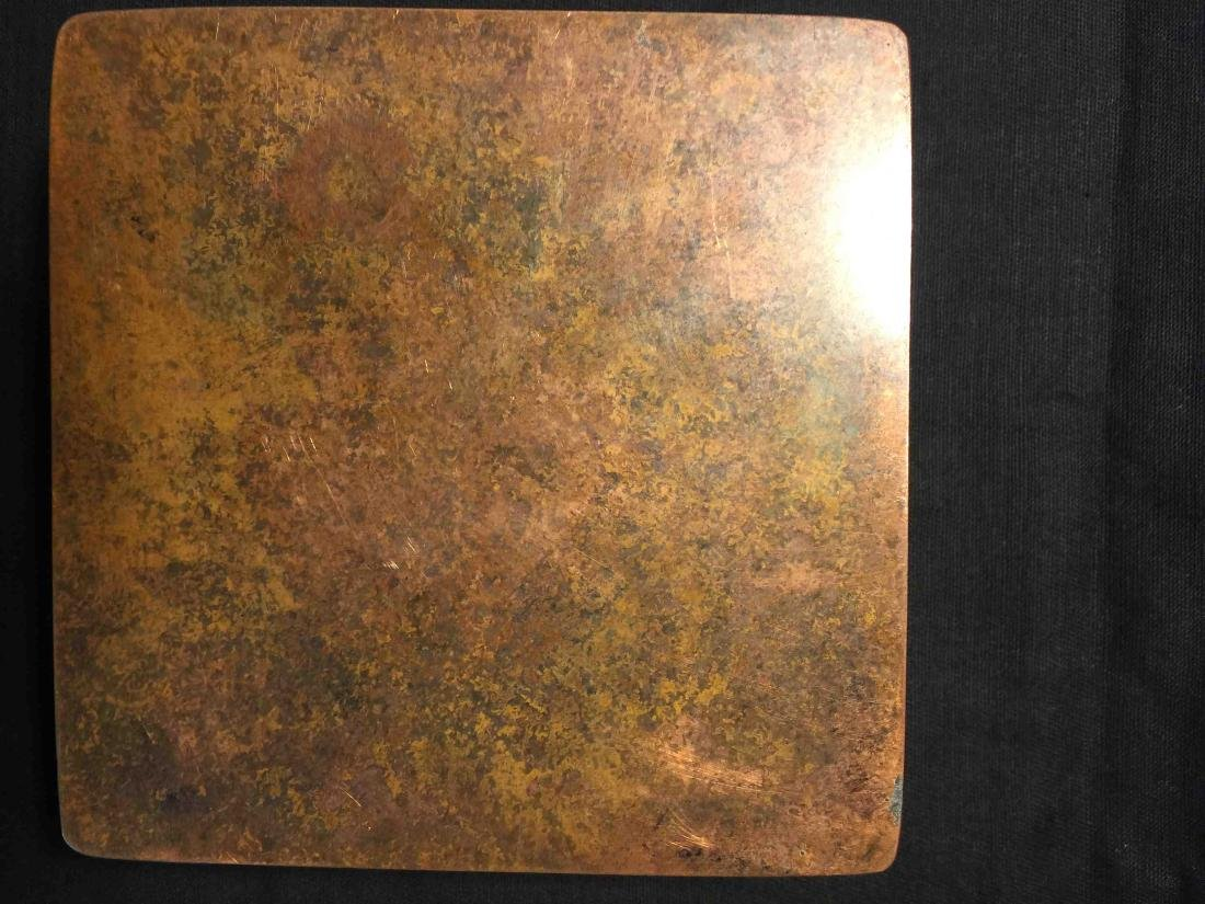 Fine Chinese old copper box engraved with cranes - 4