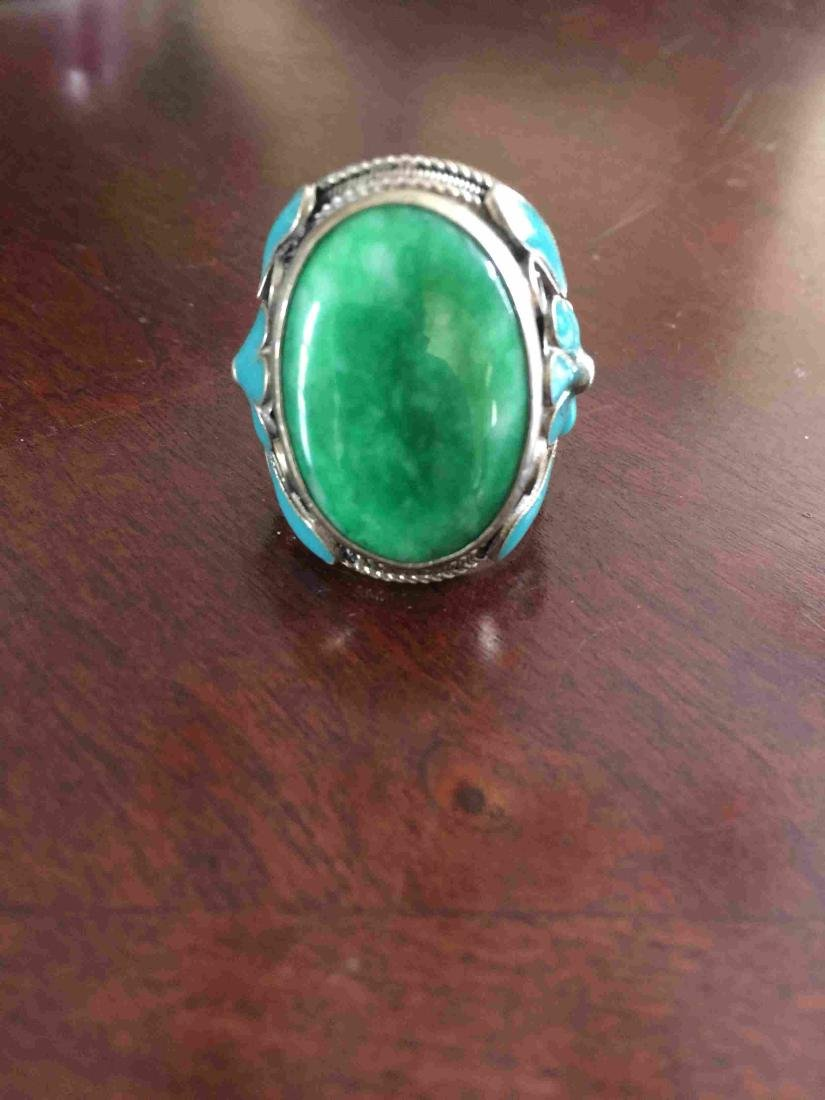 Adjustable Jade and silver ring