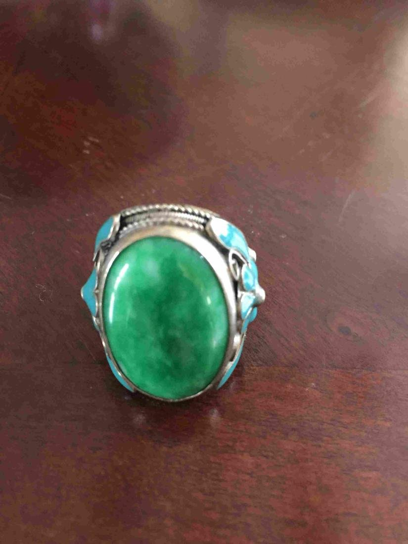 Adjustable Jade and silver ring - 2
