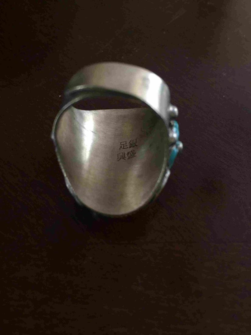 Adjustable Jade and silver ring - 4