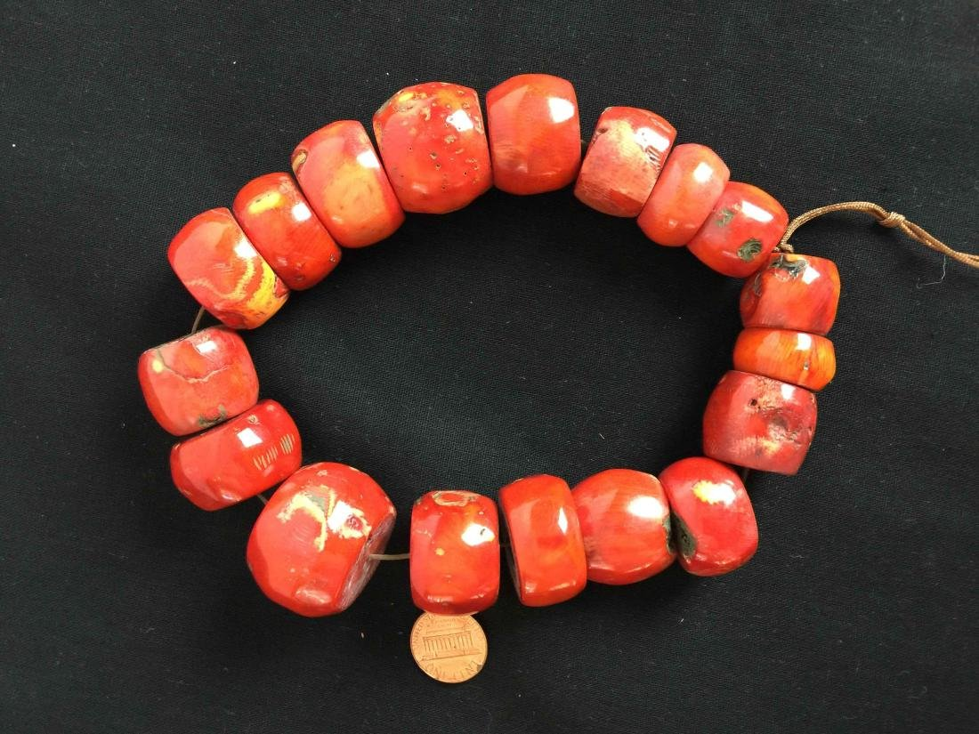 red coral stone bead