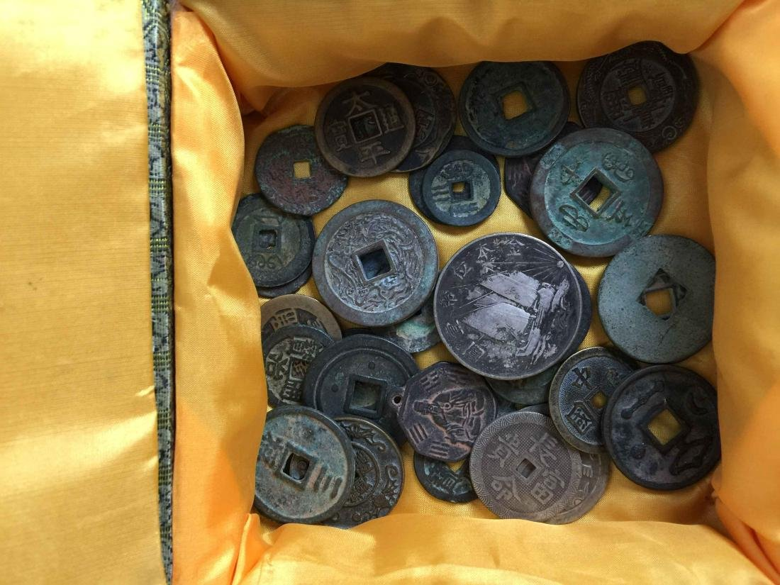 box of ancient coins