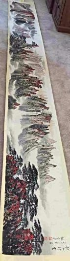 A FINEST CHINESE Long scroll painting red leaves