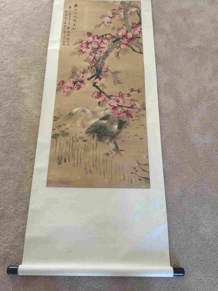 Flower and ducks scroll painting - 2