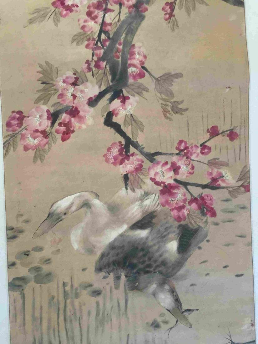Flower and ducks scroll painting - 3