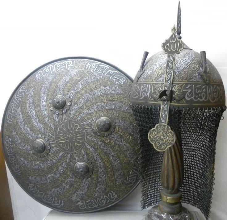 Indo Persian Khula Khud Warrior Helmet n Shield