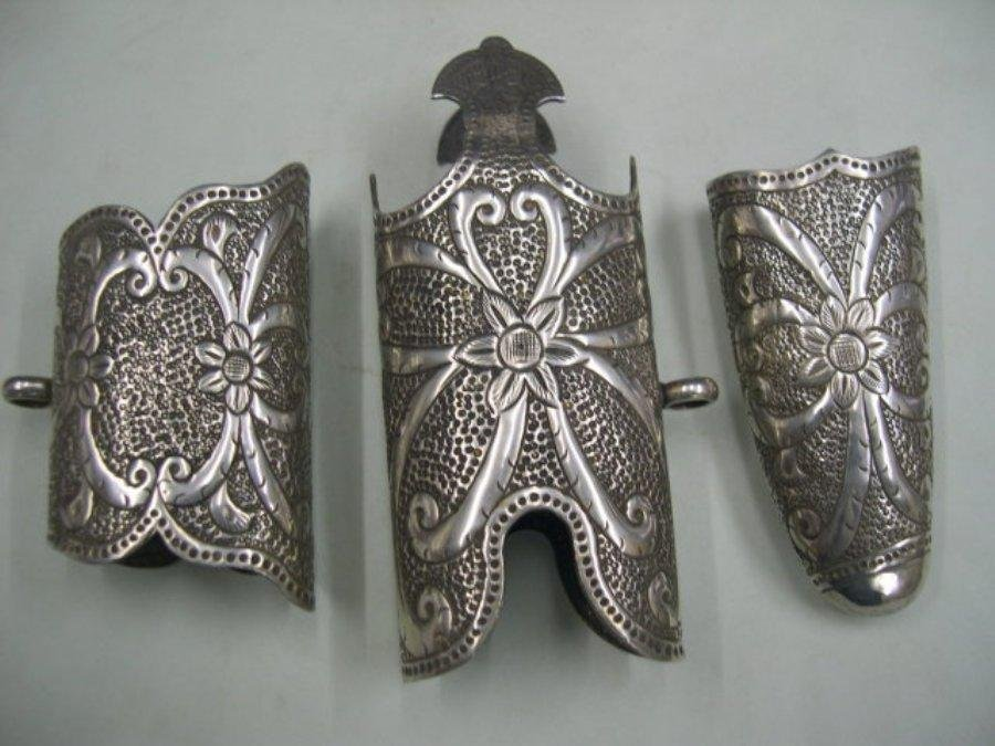 INDO PERSIAN SILVBER HAND EMBOSSED SWORD SCABBARD SET 3