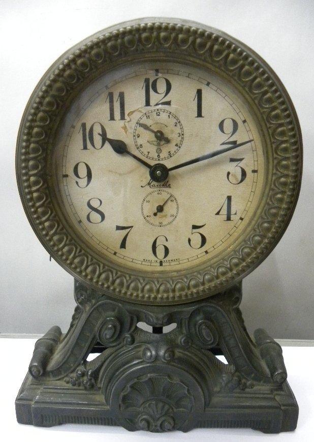 ANTIQUE GERMAN CLOCK MAUTHE SIGNED SECOND & ALARM