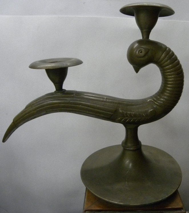 ANTIQUE BRASS 2 CUPS  CANDLE STAND PEACOCK FIGURES