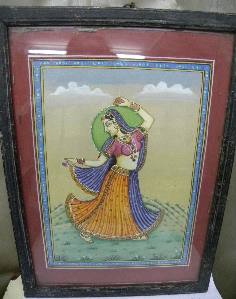 VINTAGE HAND PAPER PAINTING INDIAN LADY DANCING