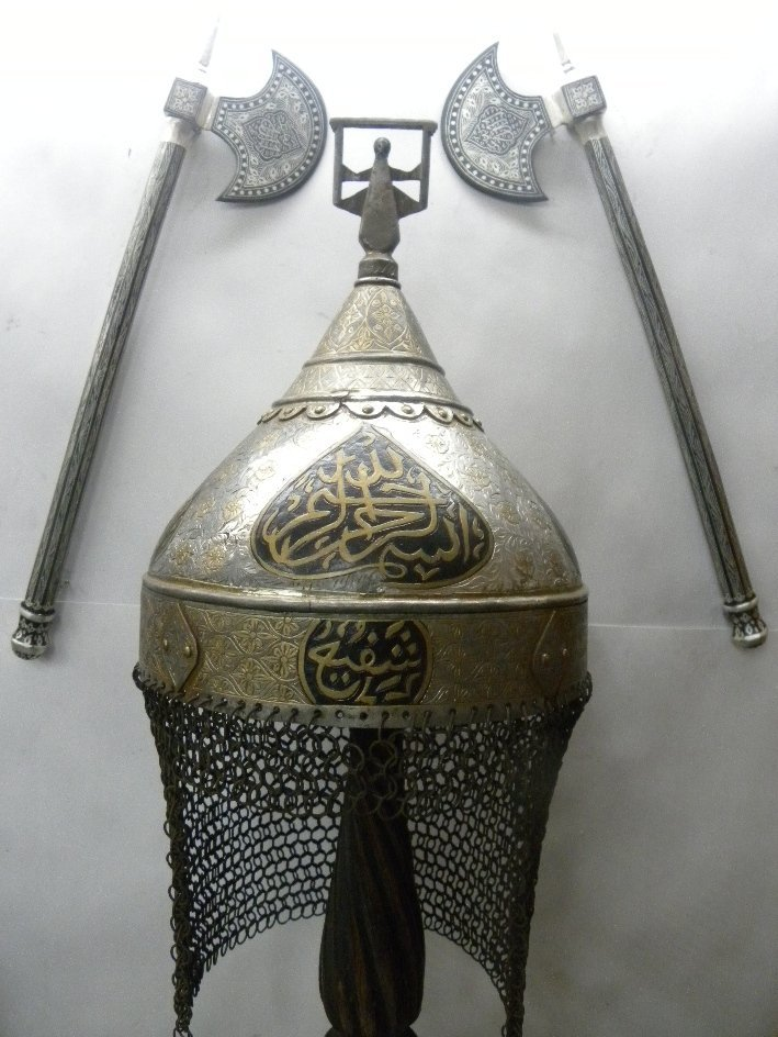 INDO PERSIAN HELMET & AXES SET SILVER WORK EARLY 20TH.C