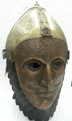A helmet with face mask