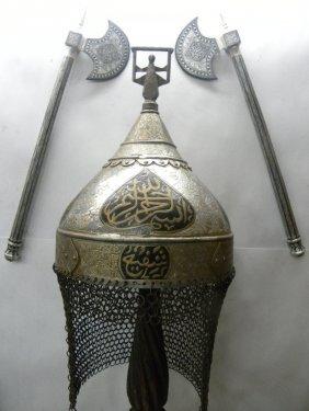 RARE INDO PERSIAN HELMET & AXES SET SILVER WORK