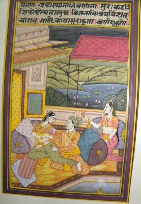 INDIAN MINITURE PAPER  PAINTING LOVE SCENE PRE 1940