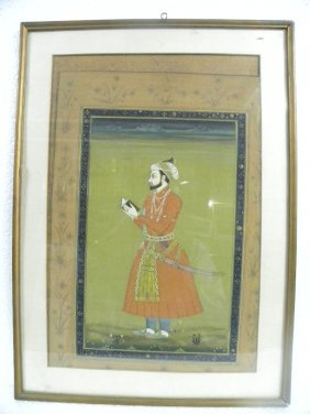 INDIAN MINITURE PAPER PAINTING MUGHAL EMPEROR PRE 1930