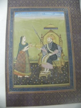 MUGHAL  MINITURE PAPER PAINTING  EMPEROR QUEEN PRE 1930