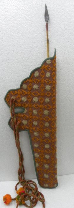 ANTIQUE PERSIAN QUIVER  FABRIC HAND EMBRODERY  1 ARROW