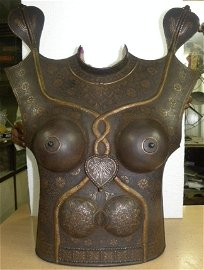 ANTIQUE FEMALE WARRIOR CHEST & BACK PLATES SNAKE FIGS
