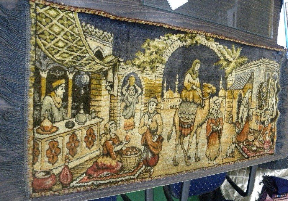 RARE SILK CARPET WALL HANGING ARABIAN FIGS 19th.c