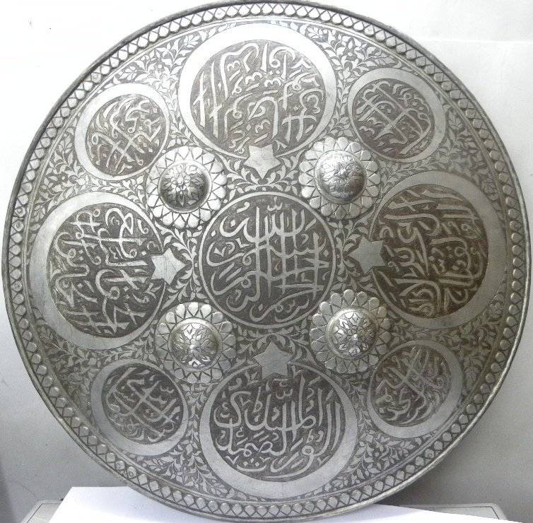 PERSIAN WARRIOR 8 MEDALLIONS & STARS SHIELD HAND NICKLE