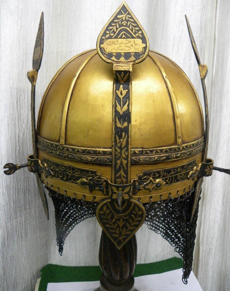 TURKISH WARRIOR HELMET UNUSUAL3 NASAL GUARD ARABIC